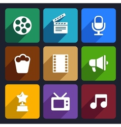 Movie flat icons set 37 vector