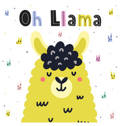 Oh llama cute card in scandinavian style with hand vector
