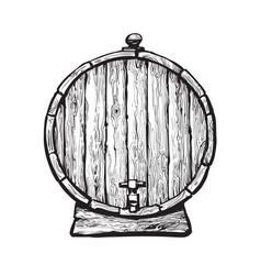 old wooden barrel with tap vector image