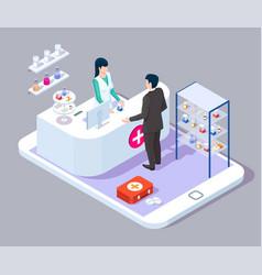 online pharmacy drugstore counter doctor vector image