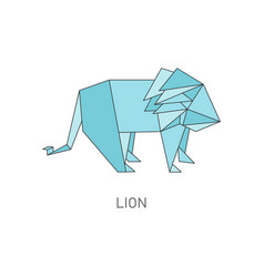 origami lion isolated on white background vector image