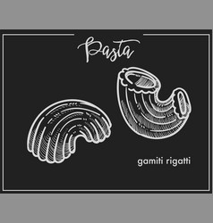Pasta gamiti rigatti chalk sketch for italian vector