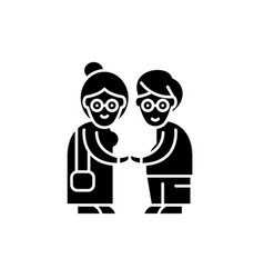 pensioners black icon sign on isolated vector image