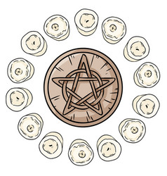 Pentacle occult sign in a circle white candles vector
