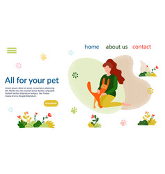 Pet shop site banner vector