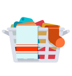 Plastic laundry basket washing dirty clothes wash vector