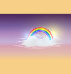 rainbow cloud and blue sky background vector image