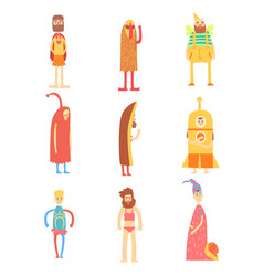 Set of people in funny costumes colorful vector