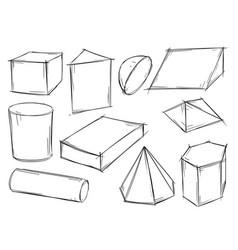set sketchy 3d geometrical shapes vector image