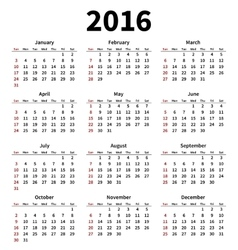 Simple 2016 year calendar on white background vector