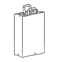 sketch paper bag for grocery shopping vector image