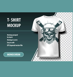 Skull pilot t-shirt template fully editable vector