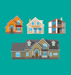 Suburban family house countrysdie building set vector