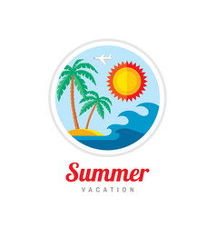 summer vacation - creative logo template vector image