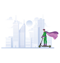 superhero on electric scooter vector image