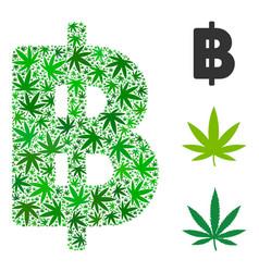 Thai baht mosaic of marijuana vector