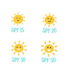 Uv protection spf 15 20 30 50 with sun emoji vector