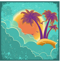 Vintage tropical island background vector image