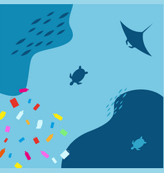 world ocean pollution plastic waste concept vector image