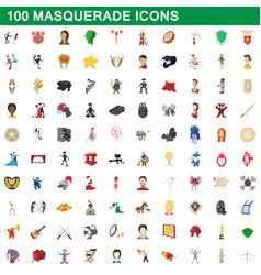 100 masquerade icons set cartoon style vector image vector image
