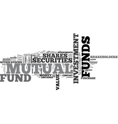 a guide to mutual funds text word cloud concept vector image vector image
