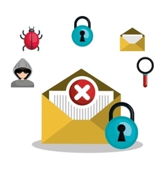 email mail message virus error design vector image