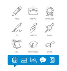 graduation cap pencil and diploma icons vector image