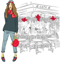 Lovely fashion girl on the background of paris vector