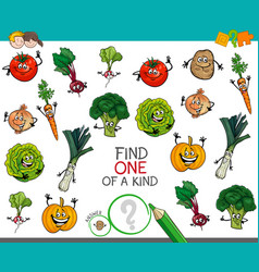 one of a kind game with vegetable characters vector image vector image