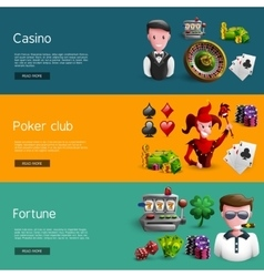 Set Of Three Casino Banners vector image vector image