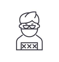 criminal man line icon sign vector image