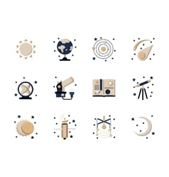 Flat style astronomy icons vector image vector image