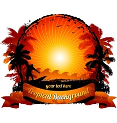 orange sunset surfing beach vector image vector image