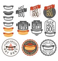 Set of vintage hot dog labels and design elements vector image vector image