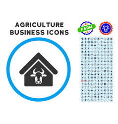 Cattle farm rounded icon with set vector