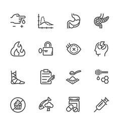 diabetes icons set line icons vector image vector image