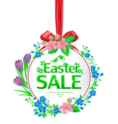 Easter sale banner round vector image
