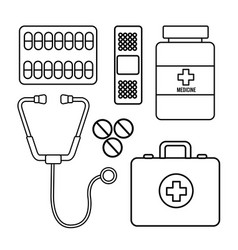 Figure healthcare medications tools icon vector