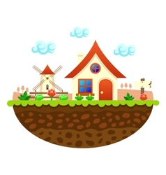Flat farm landscape with farmhouse vector image