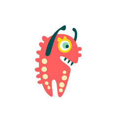 funny red cartoon monster raising his hands vector image vector image