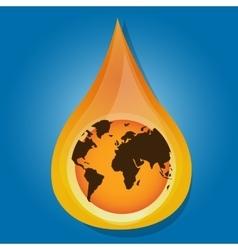 globe earth inside water oil drop liquid vector image