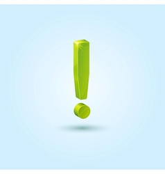 Green exclamation mark isolated on blue background vector image vector image