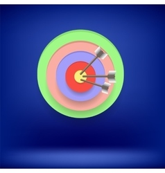 Arrow hit right on target achieving goal vector