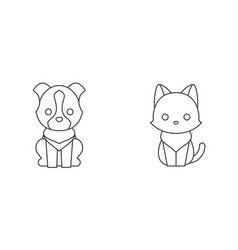 cat and dog thin line icon pet shop concept vector image vector image