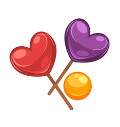 colorful lollipop candies set in shapes of heart vector image vector image