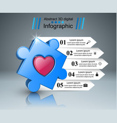 puzzle logo heart infographics vector image vector image