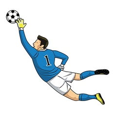 soccer goalkeeper catches the ball on white vector image vector image