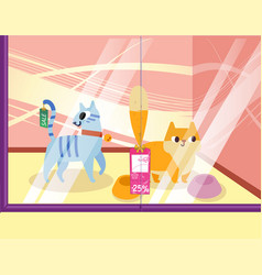 a petshop with cats lovely cartoon animals in the vector image