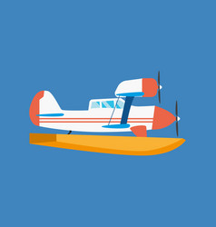 Amphibian seaplane floating in air floating vector