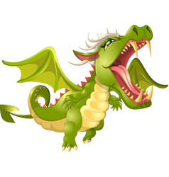 angry dragon cartoon vector image